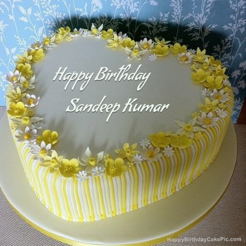 Cake Images With Name Sandeep : Vanilla Birthday Cake For Sandeep Kumar