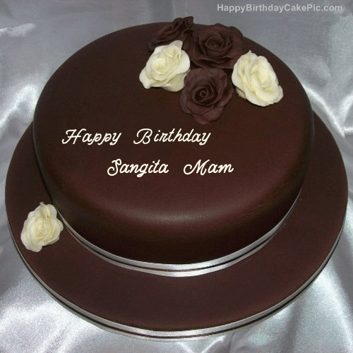 Birthday Cake Pic With Name Mamta : Rose Chocolate Birthday Cake For Sangita Mam