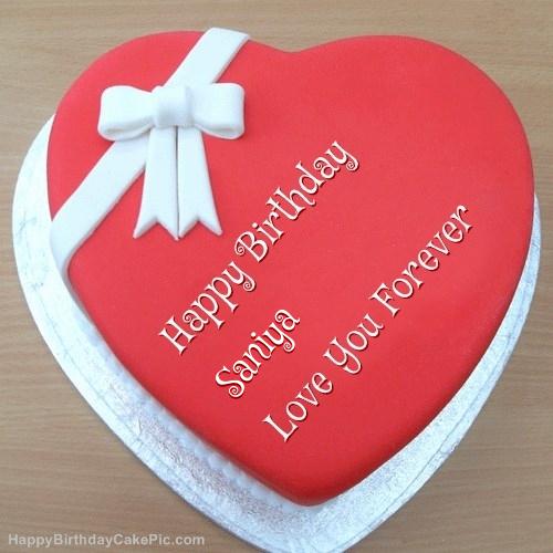 Pink Heart Happy Birthday Cake For Saniya