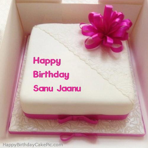 Pink Happy Birthday Cake For Sanu Jaanu