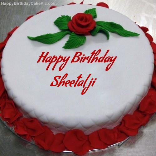 Birthday Cake Images For Vahini : Red Rose Birthday Cake For Sheetal ji
