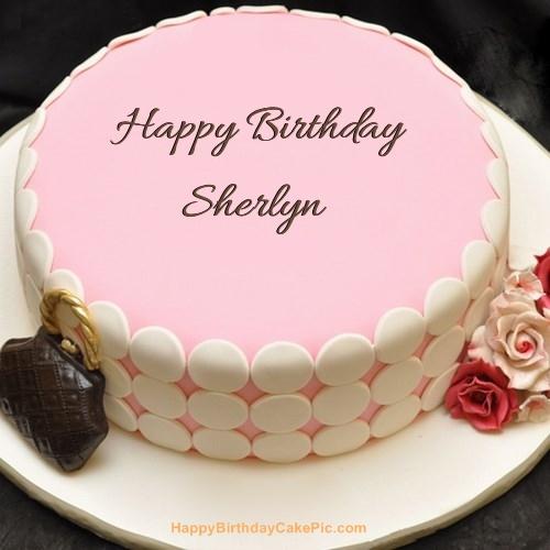 sherlyn name. write name on pink birthday cake sherlyn