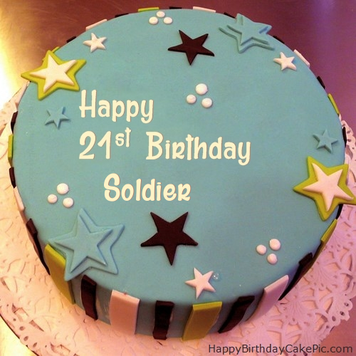 Remarkable Elegant 21St Birthday Cake For Soldier Funny Birthday Cards Online Aeocydamsfinfo