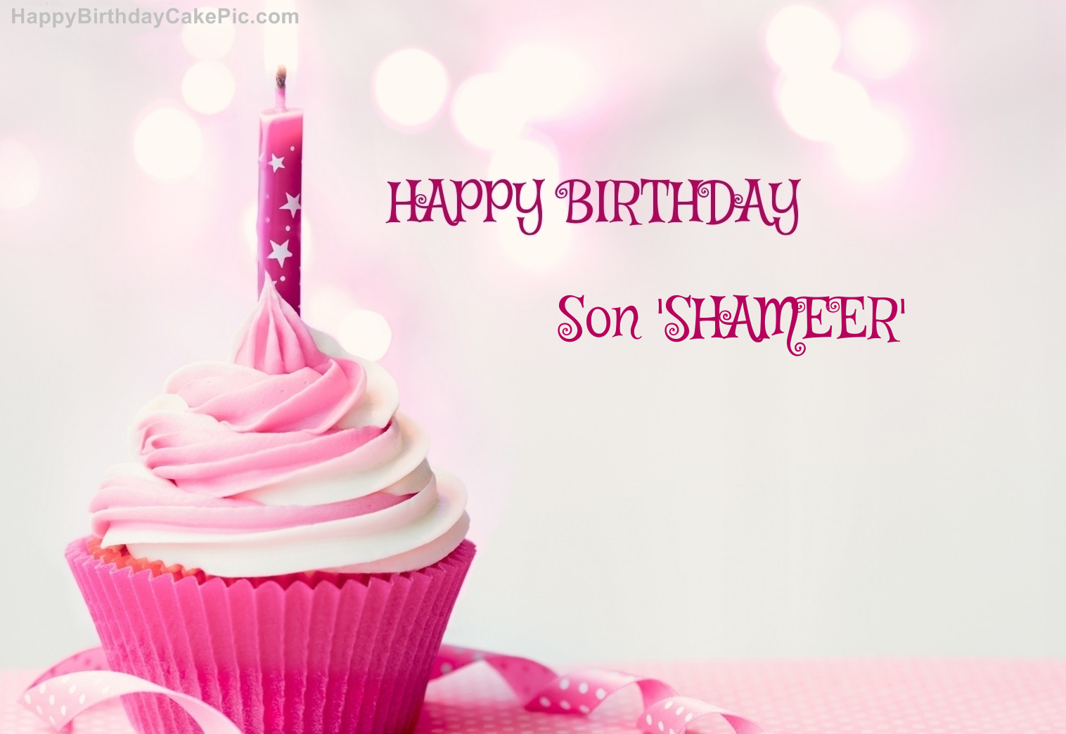 Happy Birthday Cupcake Candle Pink Cake For Son Shameer