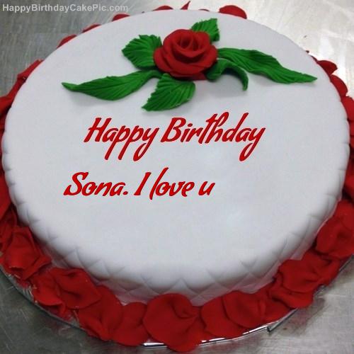 Red Rose Birthday Cake For Sona I Love U