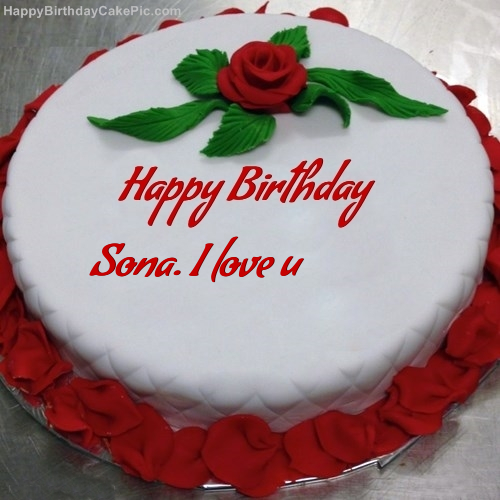 Red Rose Birthday Cake For Sona. I Love U