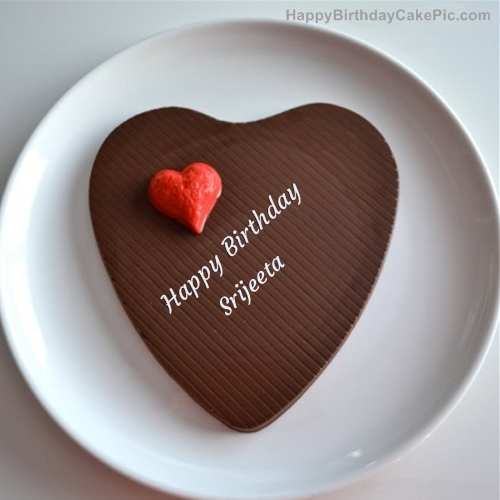 write name on Chocolate Heart Cake