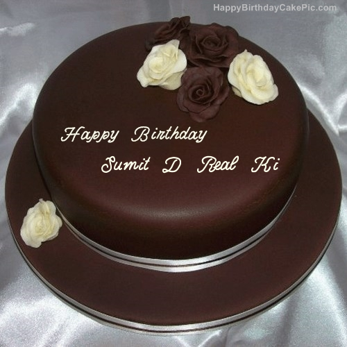 Rose chocolate birthday cake for sumit d real ki write name on rose chocolate birthday cake publicscrutiny Choice Image