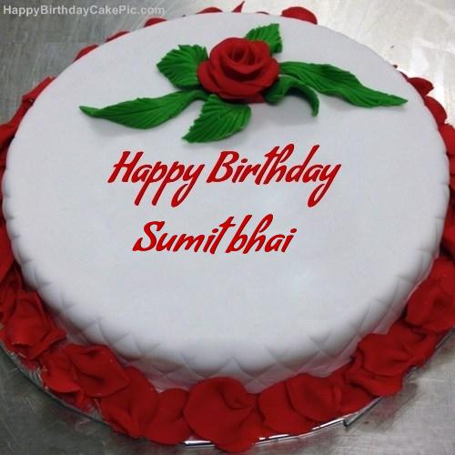 Red Rose Birthday Cake For Sumit Bhai