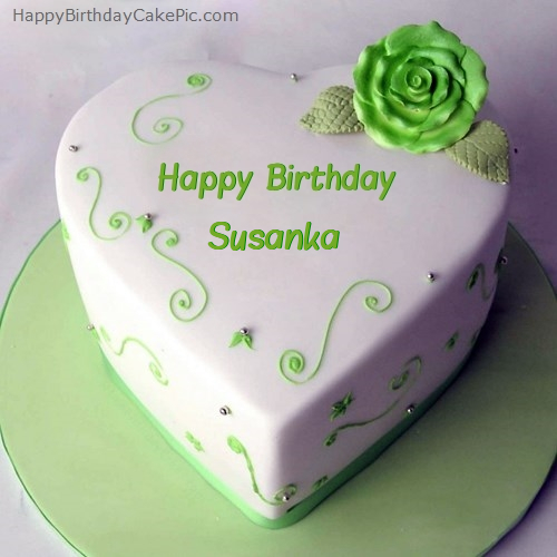 write name on Green Heart Birthday Cake