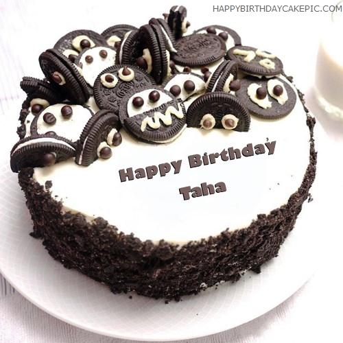 Peachy Oreo Birthday Cake For Taha Personalised Birthday Cards Paralily Jamesorg