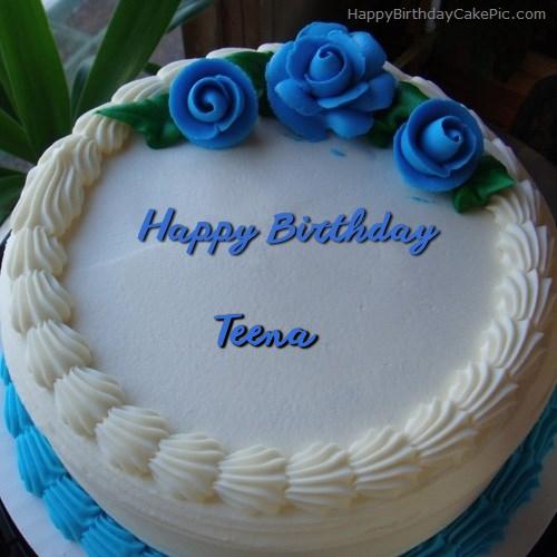 Blue Flower Ice Cream Cake For Teena