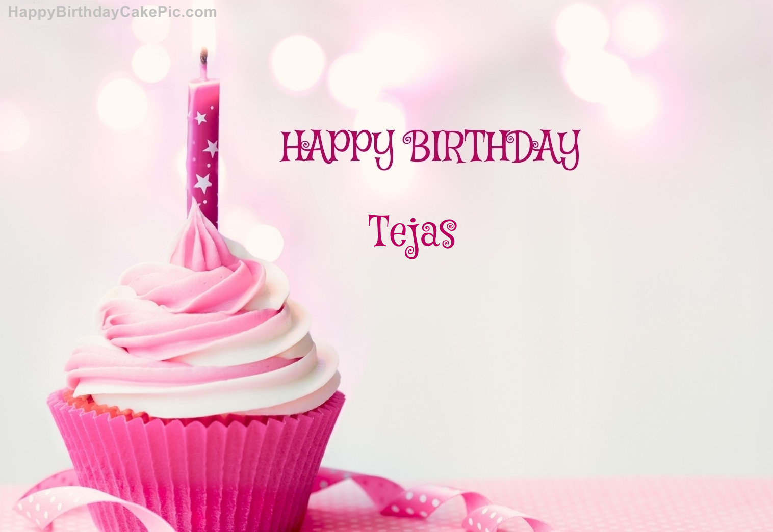 Happy Birthday Cupcake Candle Pink Cake For Tejas
