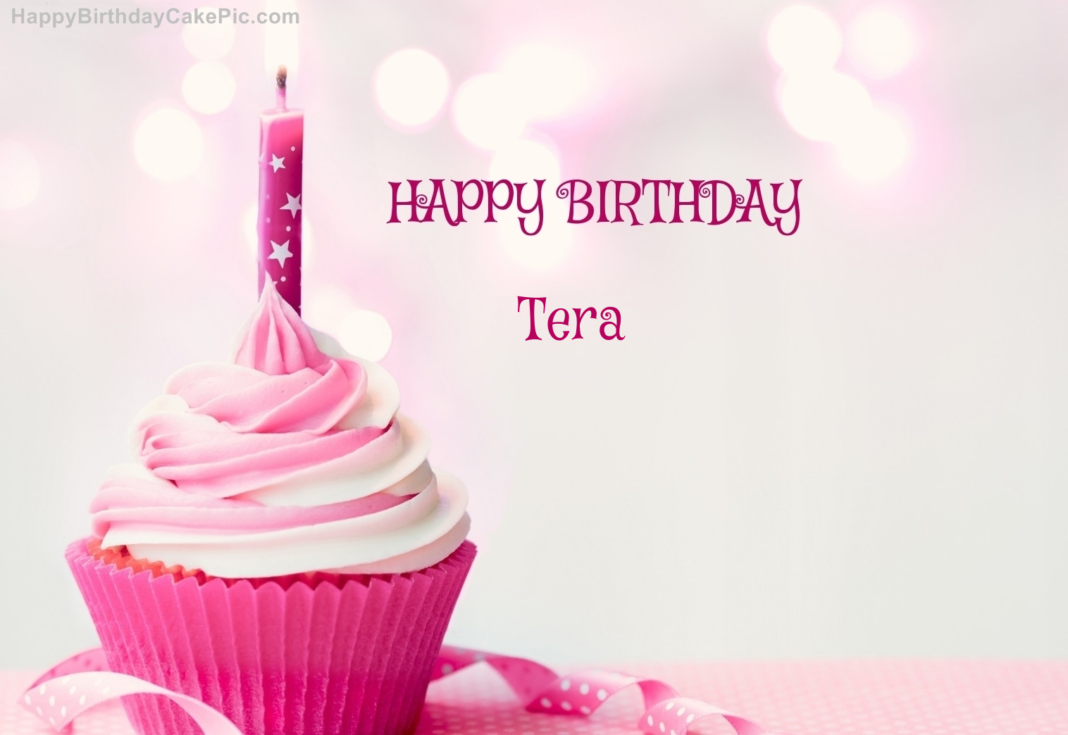 Happy Birthday Cupcake Candle Pink Cake For Tera