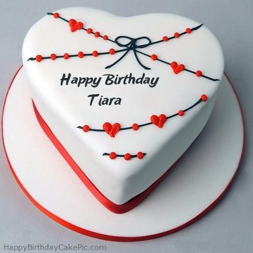 Awesome Red White Heart Happy Birthday Cake For Tiara Funny Birthday Cards Online Amentibdeldamsfinfo