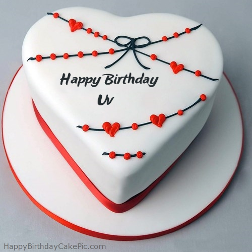 Superb Red White Heart Happy Birthday Cake For Uv Personalised Birthday Cards Veneteletsinfo