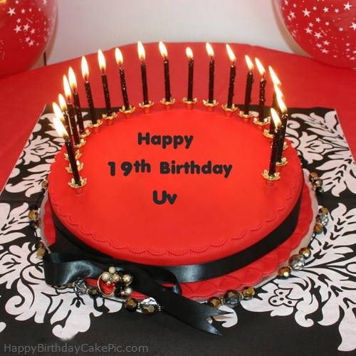 Amazing Happy 19Th Happy Birthday Cake For Uv Personalised Birthday Cards Veneteletsinfo
