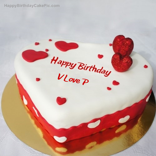 V Love P Birthday Write Name On Ice Heart Cake