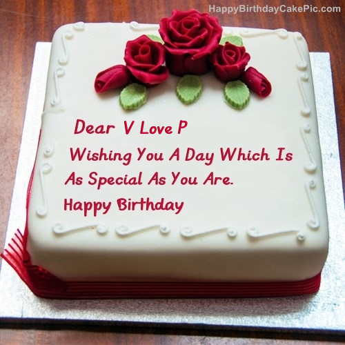 V Love P Birthday Write Name On Best Cake For Lover