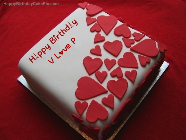 V Love P Birthday Write Name On Wish Beautiful Cake
