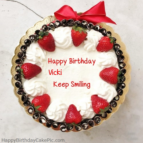 Birthday Cake Images With Name Vicky : Happy Birthday Cake For Girlfriend or Boyfriend For Vicki