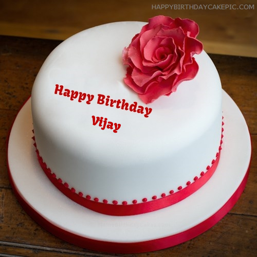 Simple Rose Birthday Cake For Vijay