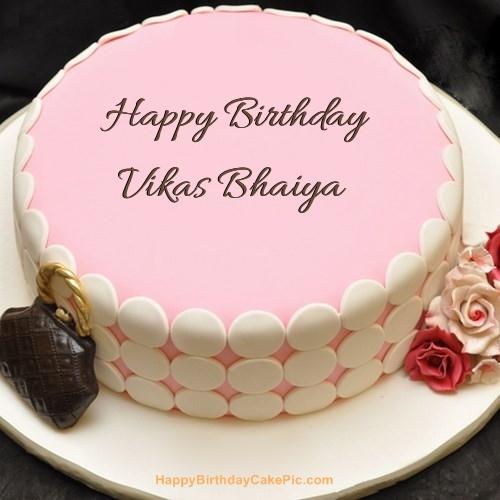Birthday Cake Images For Bhaiya : Pink Birthday Cake For Vikas Bhaiya