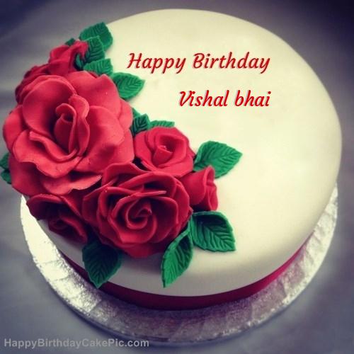 Birthday Cake Image Vishal : Roses Birthday Cake For Vishal bhai