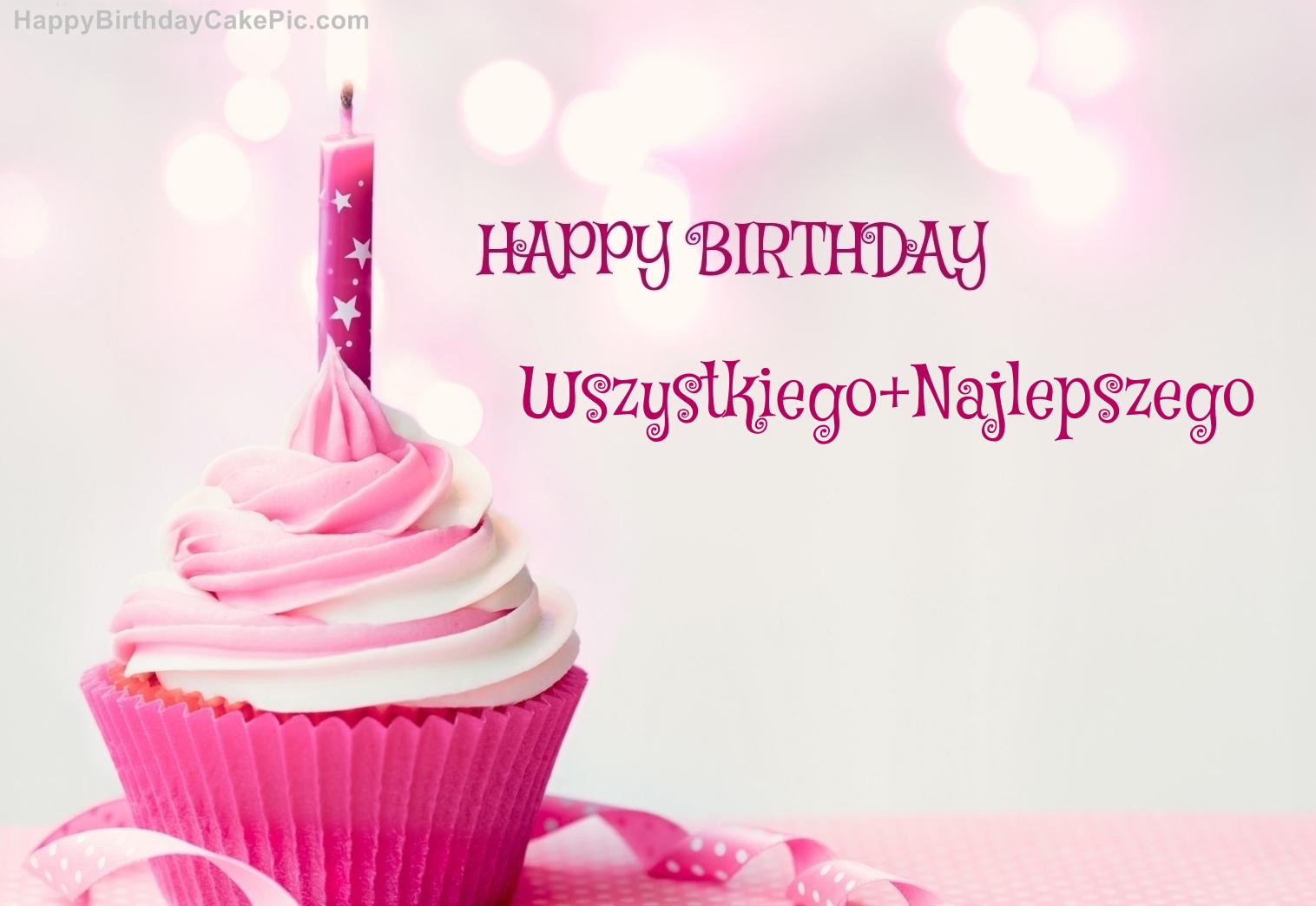 Happy Birthday Cupcake Candle Pink Cake For Wszystkiego