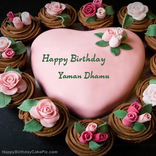 pink birthday cake for yaman dhamu on birthday cake with name yaman