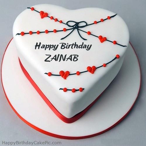 Red White Heart Happy Birthday Cake For Zainab