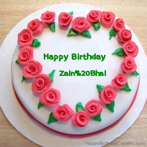 Roses Heart Birthday Cake For Zain Bhai