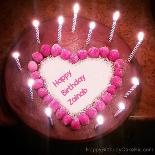 Candles Heart Happy Birthday Cake For Zainab