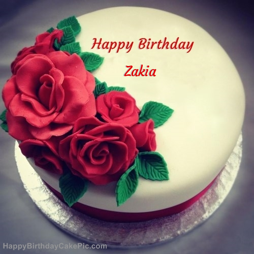 Happy Birthday With Pink Cake And Roses