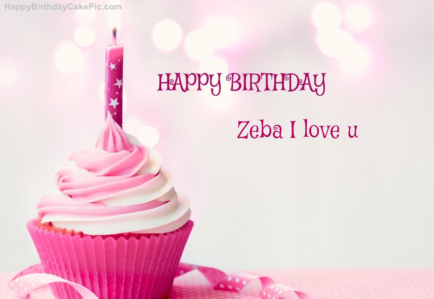 ❤️ happy birthday cupcake candle pink cake for zeba i love u