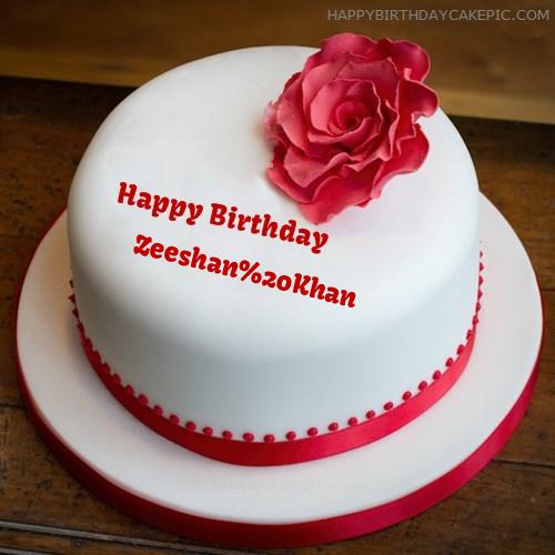 Simple Rose Birthday Cake For Zeeshan Khan