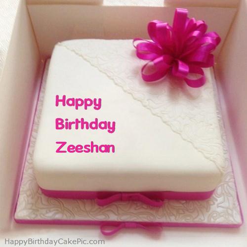 Pink Happy Birthday Cake For Zeeshan