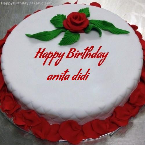 Red Rose Birthday Cake For Anita Didi