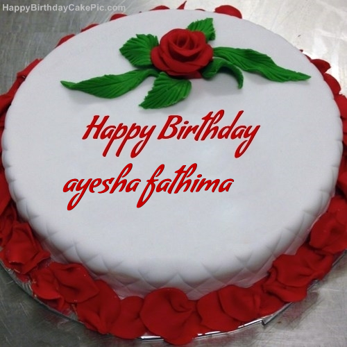 Cake Images With Name Ayesha : Red Rose Birthday Cake For ayesha fathima