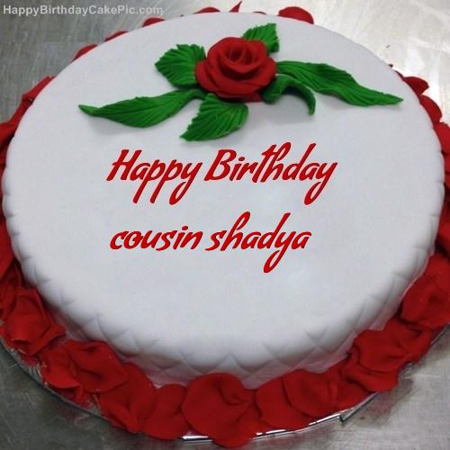 Fantastic Red Rose Birthday Cake For Cousin Shadya Funny Birthday Cards Online Aboleapandamsfinfo