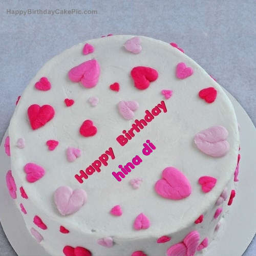 Little Hearts Birthday Cake For Hina Di