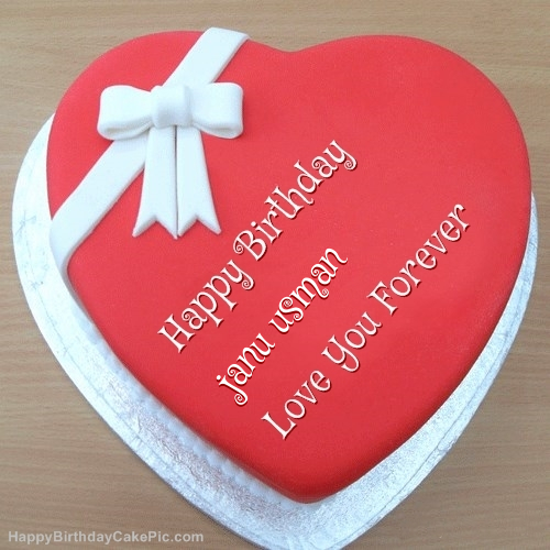 Pink Heart Happy Birthday Cake For Janu Usman