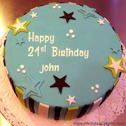 Peachy Elegant 21St Birthday Cake For John Personalised Birthday Cards Sponlily Jamesorg