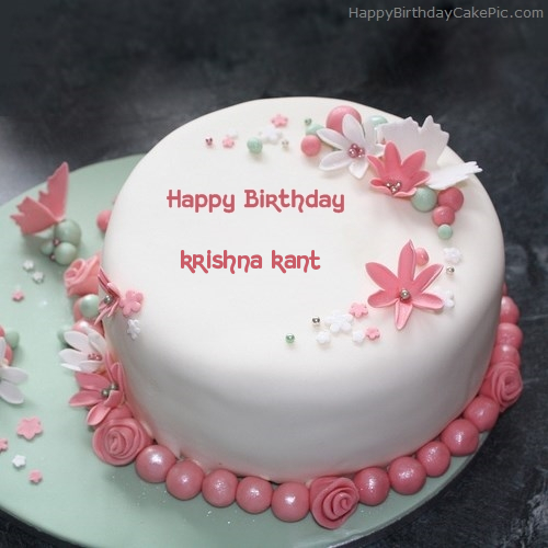 Cake Images With Name Krishna : Flowers Elegant Cake For krishna kant