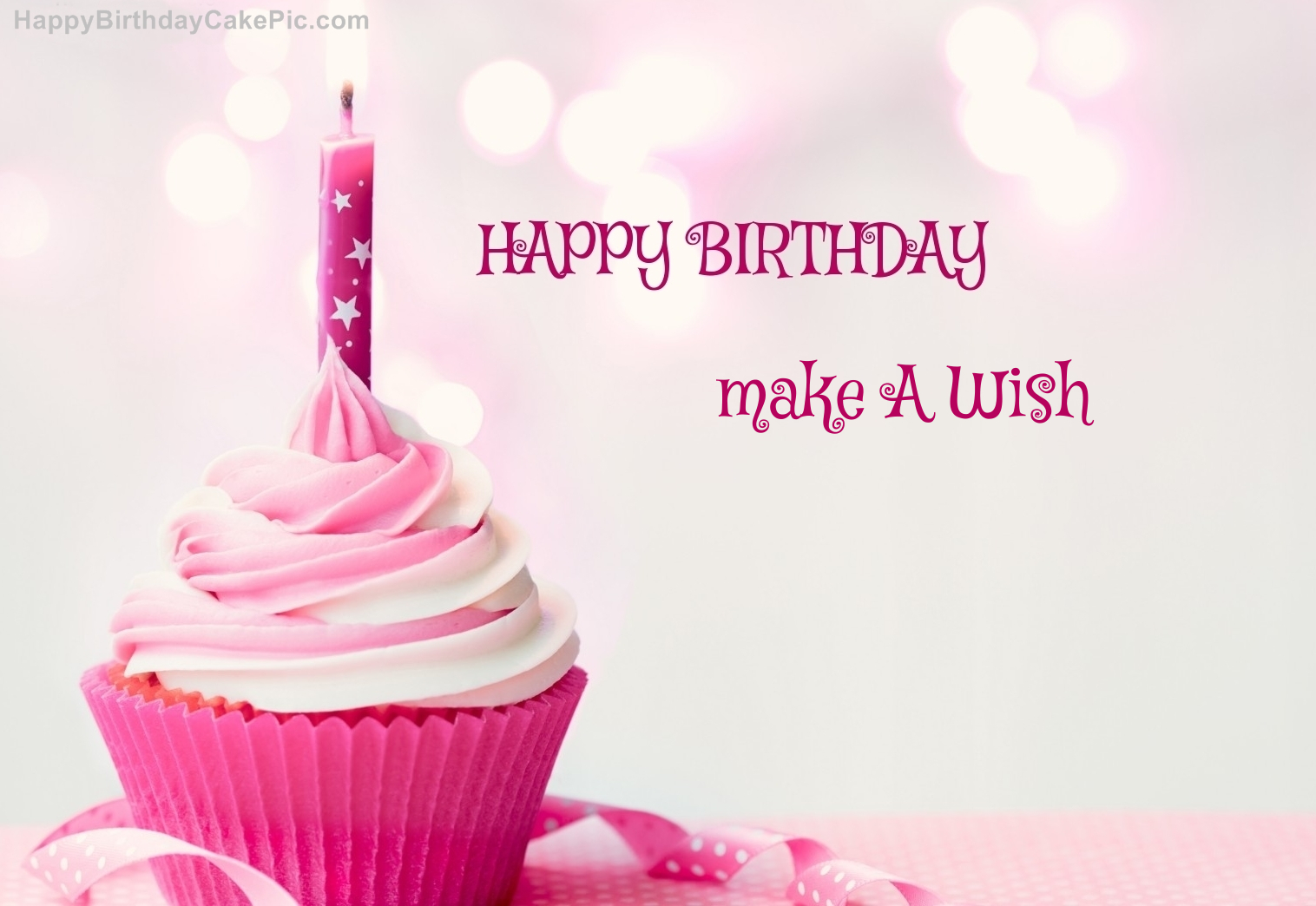 Happy Birthday Cupcake Candle Pink Cake For Make A Wish Happy Birthday Make A Wish