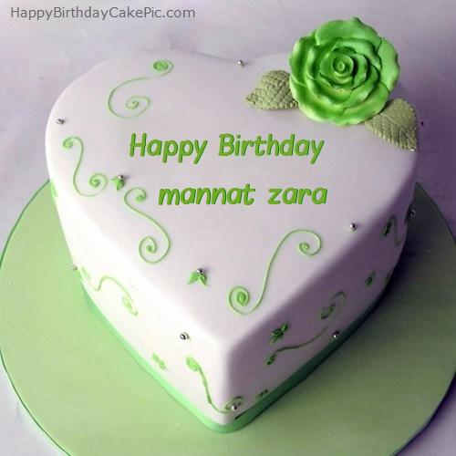 Green Heart Birthday Cake For Mannat Zara