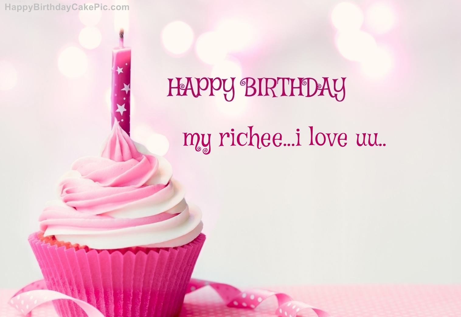 happy birthday cupcake candle pink cake for my richee i love uu