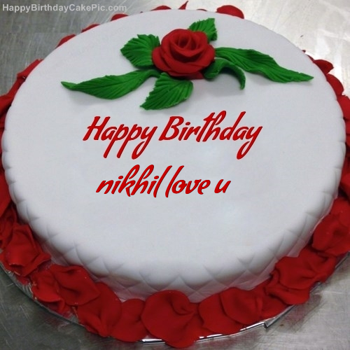 Prime Red Rose Birthday Cake For Nikhil Love U Personalised Birthday Cards Bromeletsinfo