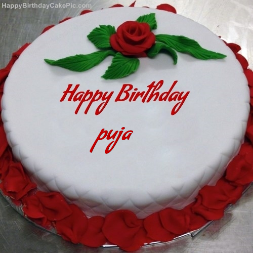 Red Rose Birthday Cake For Puja