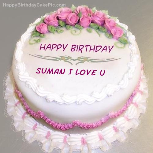 Cake Images With Name Suman : Pink Rose Birthday Cake For suman I Love u